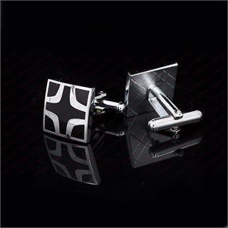 Black Cross Square Cufflinks - 3
