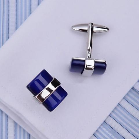 Deep Blue Crystal Cufflinks - 3