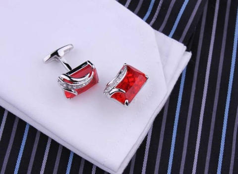 Faceted Ruby Crystal Cufflinks - 3