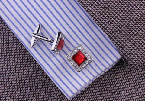 Ruby Crystal Circular Cufflinks - 3
