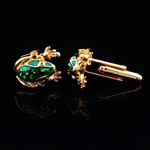 Green Frog Gold Metal Cufflinks - 3