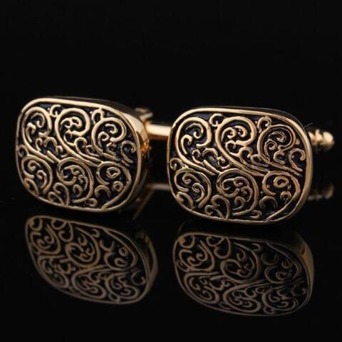 Medieval Ornament Gold Metal Cufflinks - 3
