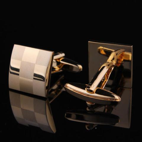 Gold Metal Chessboard Cufflinks - 3