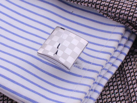 Matted and Shiny Checkerboard Cufflinks - 3