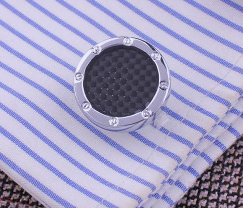 Black Checkered Pattern Round Cufflinks - 3