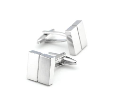 Silver cufflinks with stripe - 3
