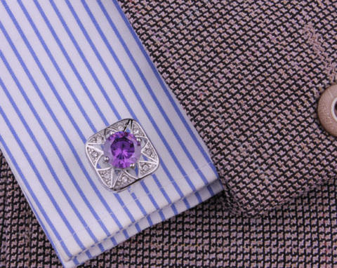 Violet Crystal Star Cufflinks - 3