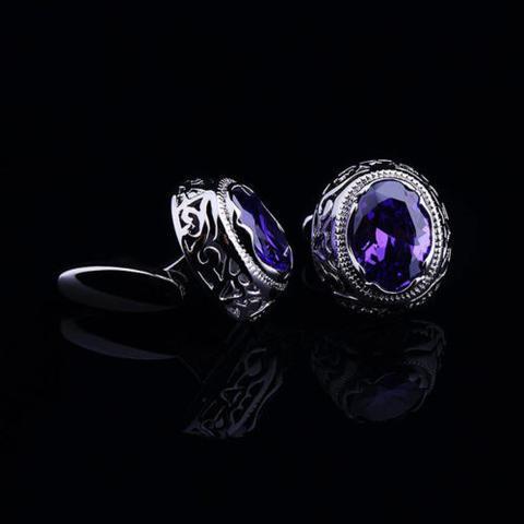 Violet Crystal Circular Ornament Cufflinks - 3