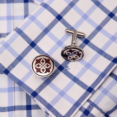 Burgundy Shield Cufflinks - 3