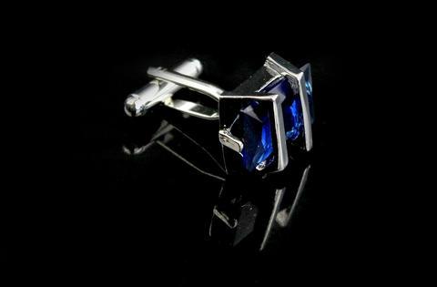 Barred Blue Crystal Cufflinks - 3