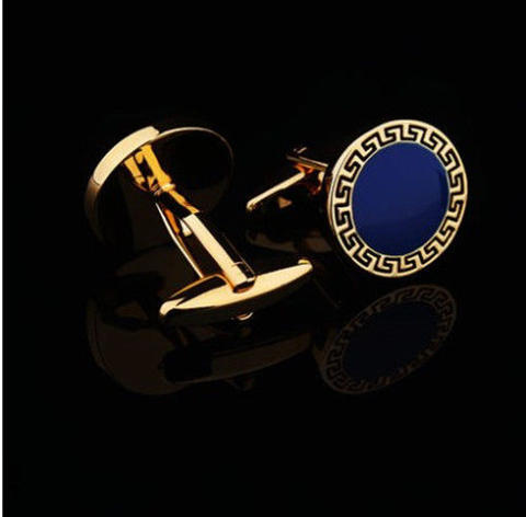 Blue Round Greek Ornament Cufflinks - 3