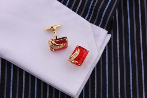 Faceted Ruby Crystal Gold Metal Cufflinks - 3