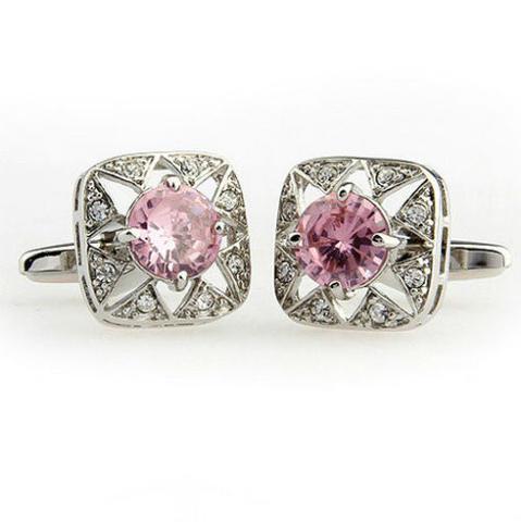 Luxury Pink Crystal Flower Cufflinks - 3