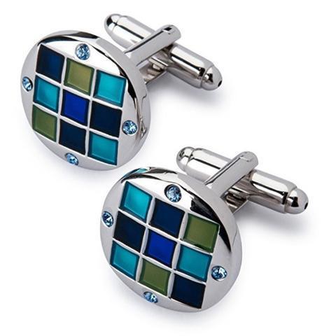 Cufflinks with blue-mosaic tie clip - 3