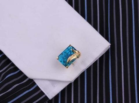 Turquoise Crystal Elephant Cufflinks - 3
