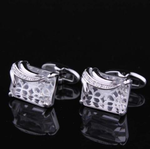 Big Clear Crystal Cufflinks - 3