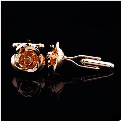 Rose Bloom Gold Metal Cufflinks - 3