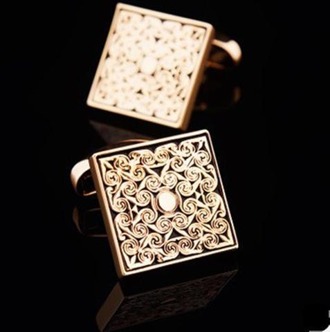 Luxury Golden Metal Ornament Cufflinks - 3