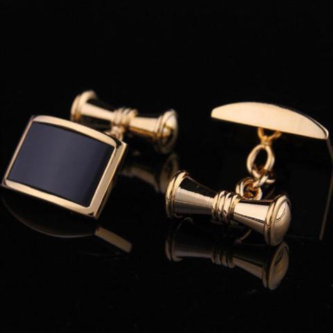 Vintage Gold Metal Obsidian Cufflinks - 3