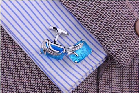 Faceted Turquoise Crystal Cufflinks - 3