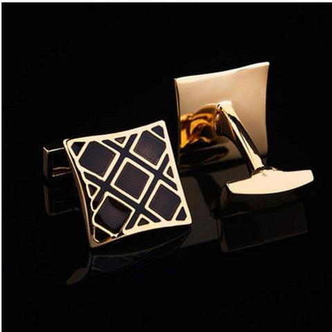 Luxury Black Gold Metal Grid Cufflinks - 4
