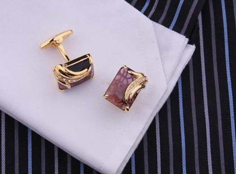 Faceted Dark Violet Crystal Cufflinks - 4