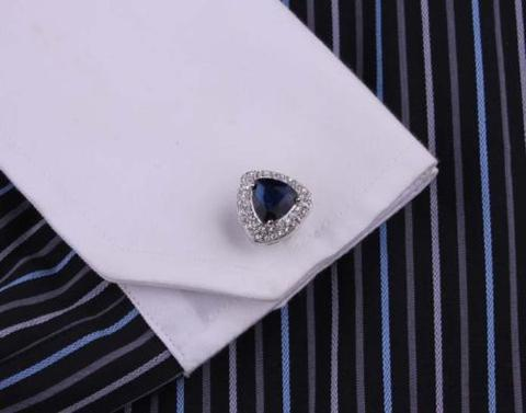 Navy Blue Triangle Crystal Cufflinks - 4