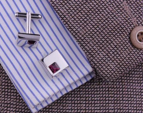 Stylish Purple Crystal Cufflinks - 4