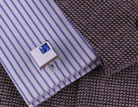 Stylish Blue Crystal Cufflinks - 4