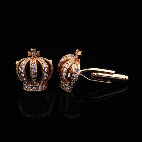 Luxury Royal Crown Blue Crystal Cufflinks - 4