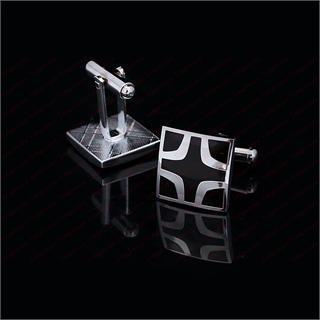 Black Cross Square Cufflinks - 4