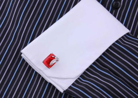 Faceted Ruby Crystal Cufflinks - 4