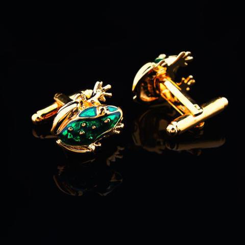Green Frog Gold Metal Cufflinks - 4