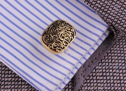 Medieval Ornament Gold Metal Cufflinks - 4