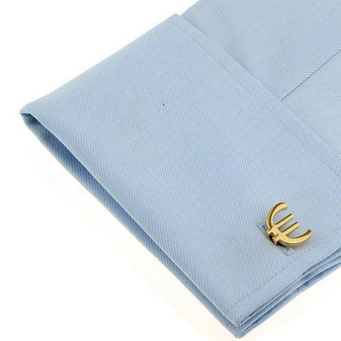 Euro Sign Gold Metal Cufflinks - 4