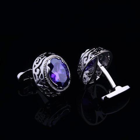 Violet Crystal Circular Ornament Cufflinks - 4