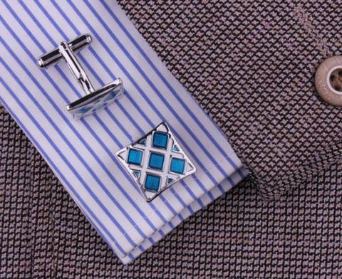 Luxury Blue Crystals Cufflinks - 4
