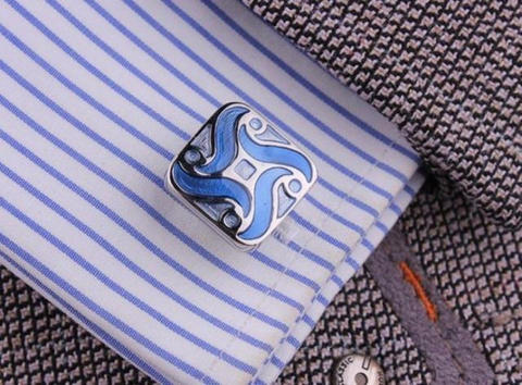 Blue Demon Flower Cufflinks - 4