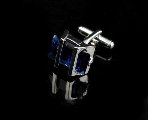Barred Blue Crystal Cufflinks - 4