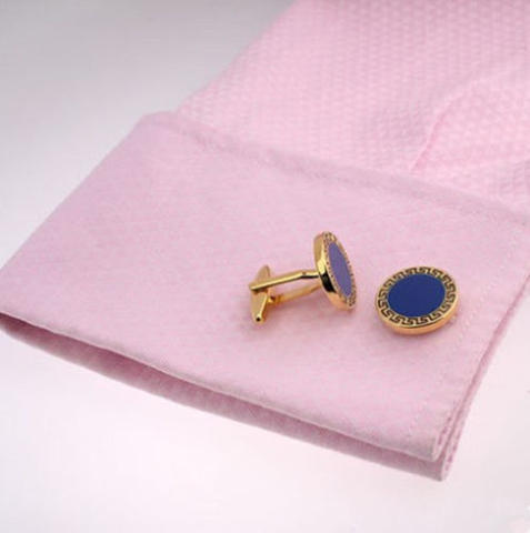 Blue Round Greek Ornament Cufflinks - 4