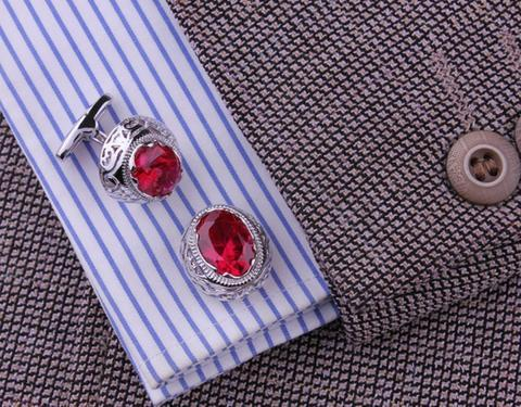 Vintage Ruby Eye Cufflinks - 4