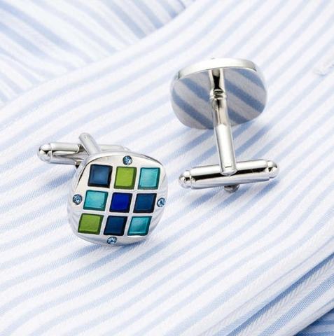 Cufflinks with blue-mosaic tie clip - 4