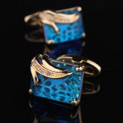 Turquoise Crystal Elephant Cufflinks - 4