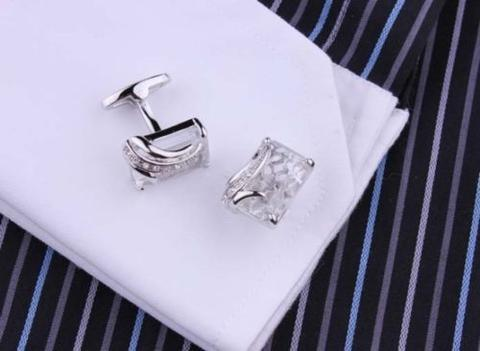 Big Clear Crystal Cufflinks - 4