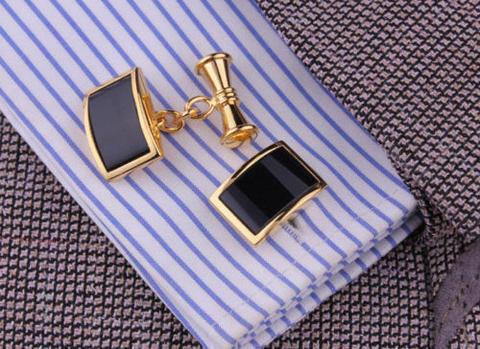 Vintage Gold Metal Obsidian Cufflinks - 4
