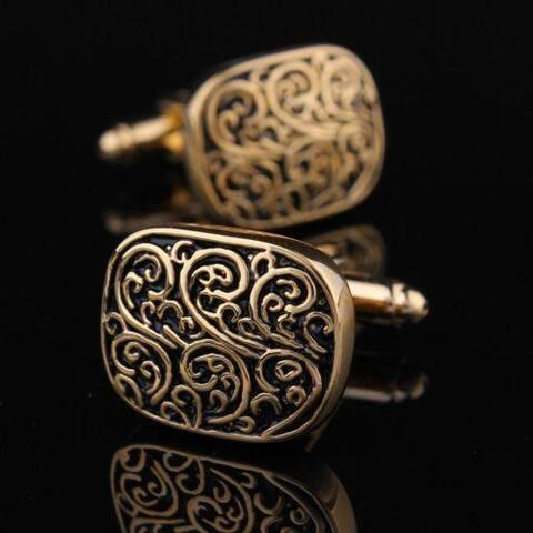 Medieval Ornament Gold Metal Cufflinks - 5