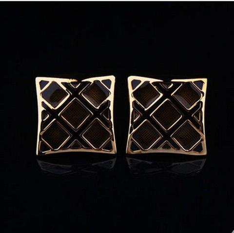 Luxury Black Gold Metal Grid Cufflinks - 5