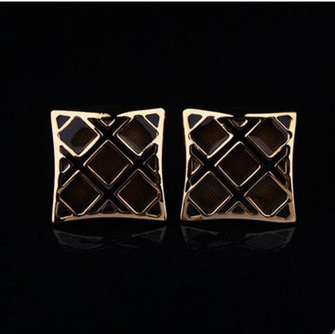 Luxury Black Gold Metal Grid Cufflinks - 5