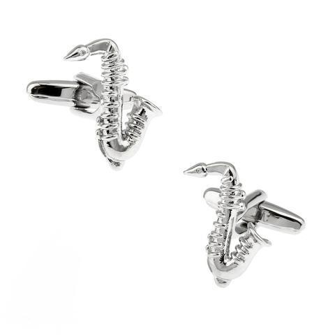 Silver Metal Saxophone Cufflinks - 5