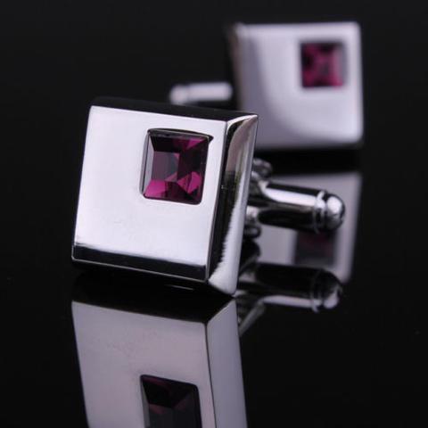 Stylish Purple Crystal Cufflinks - 5